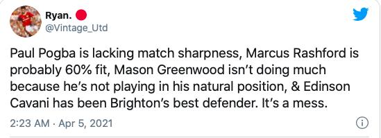 """Brighton's best defender"" – Manchester United fans fume at ""useless"" 34-year-old - Cavani - Bóng Đá"