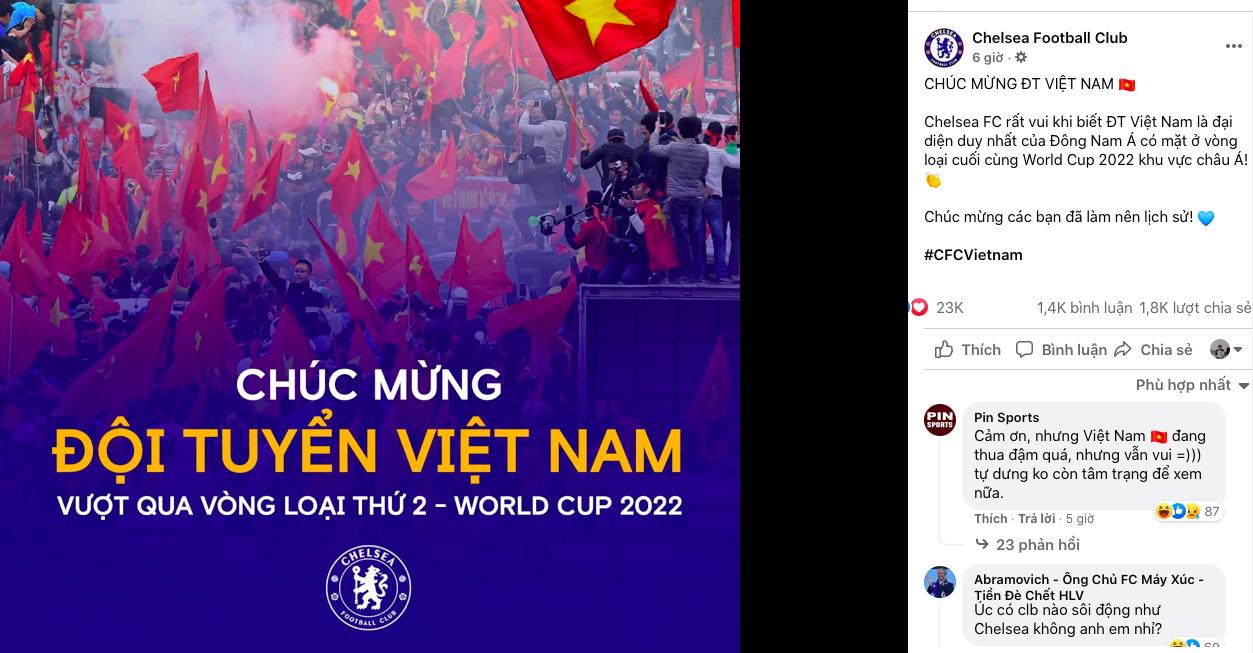 Chelsea chúc mừng Việt Nam giành vé đi tiếp ở VL World Cup - Bóng Đá