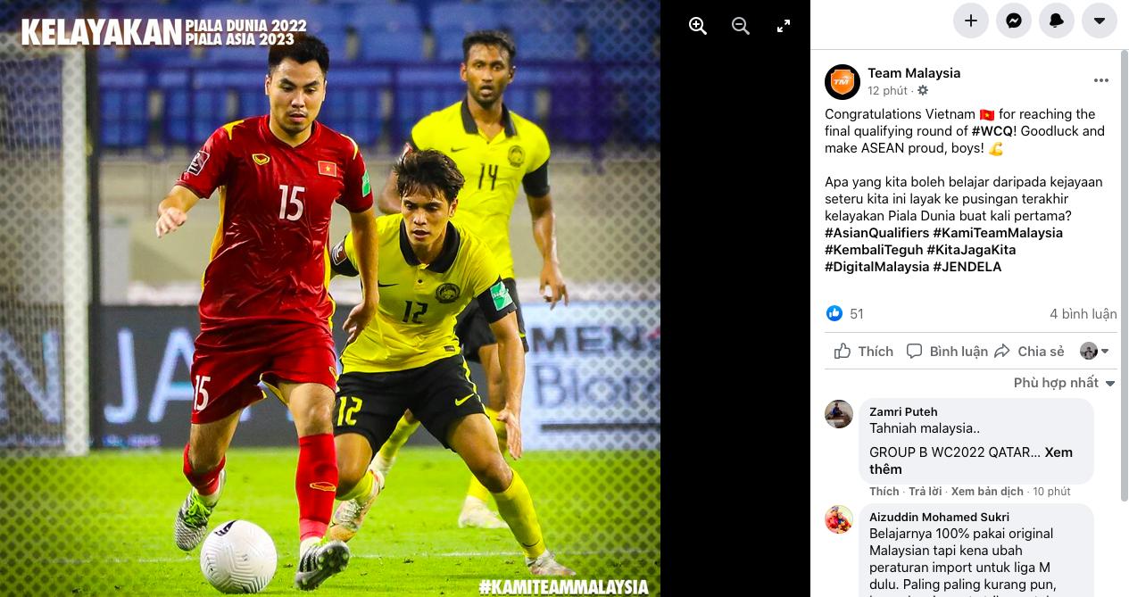 Việt Nam làm nên lịch sử, phía Malaysia liền có 1 động thái