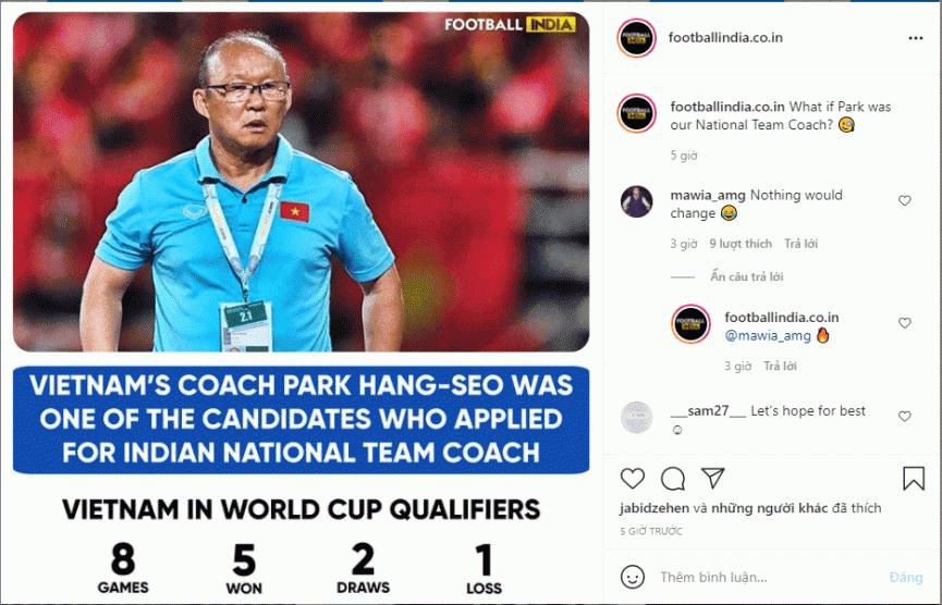 Rộ tin Ấn Độ muốn chiêu mộ HLV Park Hang-seo khi HĐ sắp đáo hạn - Bóng Đá