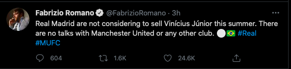 Fabrizio Romano confirms Man United are not in talks to sign Real Madrid star - Bóng Đá