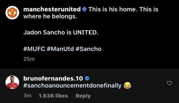 Bruno Fernandes pokes fun as Jadon Sancho Manchester United transfer finally confirmed - Bóng Đá