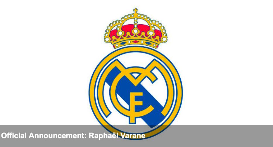 Real anounce Varane - Bóng Đá