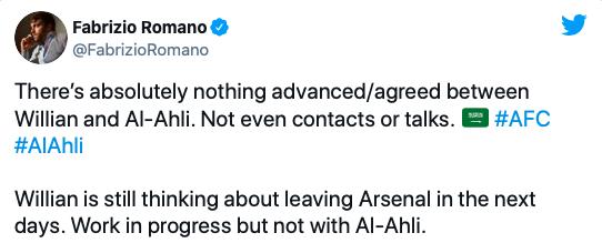 Fabrizio Romano is refuting claims of a move to Al-Ahli: Willian - Bóng Đá
