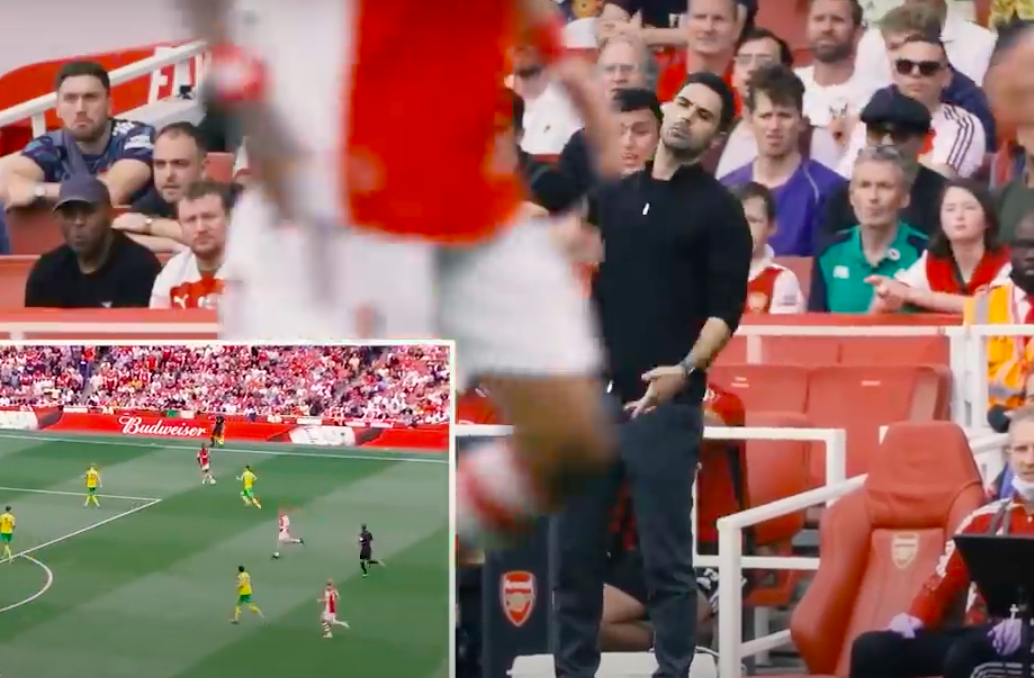 Arsenal bench cam shows Mikel Arteta's frustration with Nicolas Pepe during Norwich City win - Bóng Đá