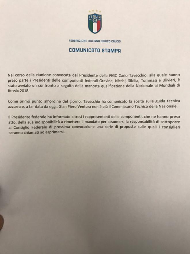 CHÍNH THỨC: Italia sa thải HLV Ventura sau thảm họa vòng loại World Cup 2018 - Bóng Đá