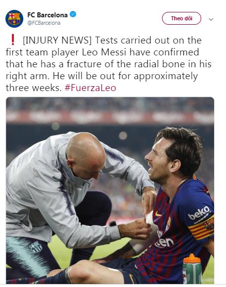 Barcelona xác nhận tình hình chấn thương của Lionel Messi - Bóng Đá
