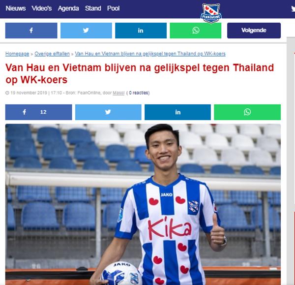 Báo Hà Lan khen ngợi Đoàn Văn Hậu sau trận hoà đáng tiếc trước Thái Lan - Bóng Đá