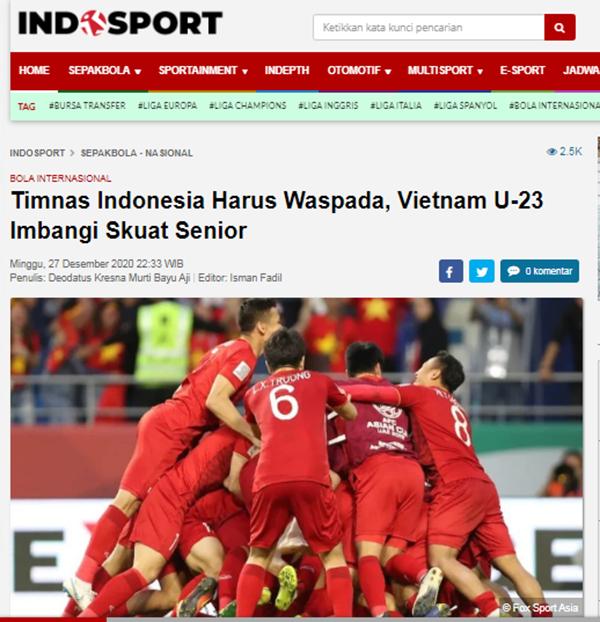 Báo Indonesia cảnh báo đội nhà về sức mạnh của U22 Việt Nam - Bóng Đá