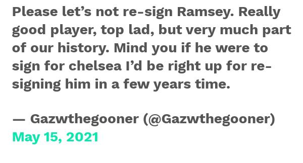 CĐV Arsenal nói thẳng quan điểm về việc tái hợp với Aaron Ramsey - Bóng Đá