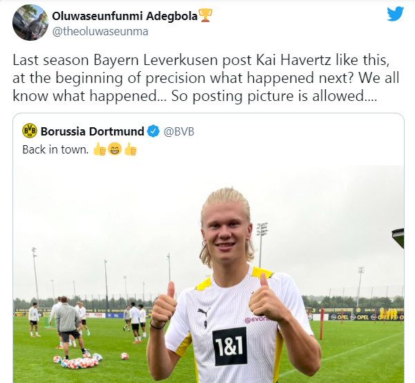 'Same happened in the Kai deal': Some Chelsea fans spot what Dortmund have tweeted about Haaland - Bóng Đá