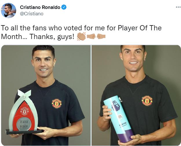 Nhận cú đúp danh hiệu, Ronaldo gửi thông điệp đến NHM Man Utd - Bóng Đá
