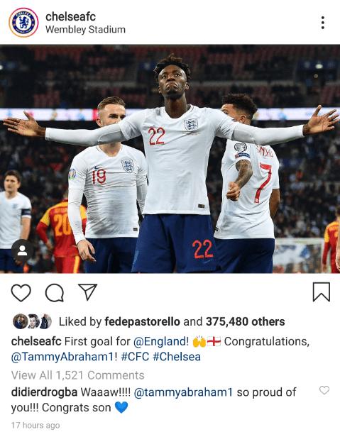 Didier Drogba sends class message to Tammy Abraham after maiden England goal - Bóng Đá