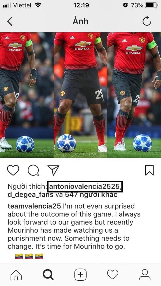 Cực sốc: Antonio Valencia like instagram yêu cầu Mou ra đi - Bóng Đá
