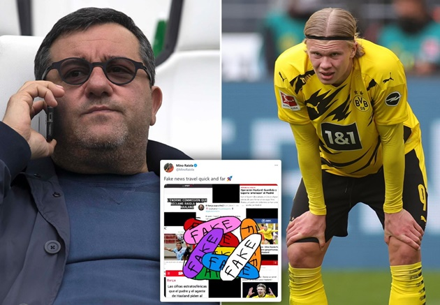 'Fake news travels quick and far' - Raiola hits back at Haaland reports amid Barcelona and Real Madrid transfer talk - Bóng Đá