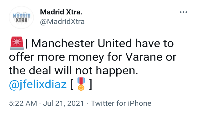 Manchester United have to offer more money for Varane or the deal will not happen.  - Bóng Đá