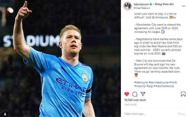 Kevin De Bruyne confirms talks over new Manchester City deal - Bóng Đá
