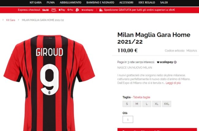 AC Milan's website shows that Oliver Giroud will wear the number 9 - Bóng Đá