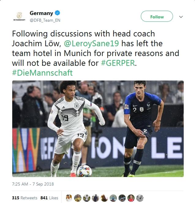 XÁC NHẬN: Leroy Sane rời tuyển Đức, không phải vì chấn thương - Bóng Đá