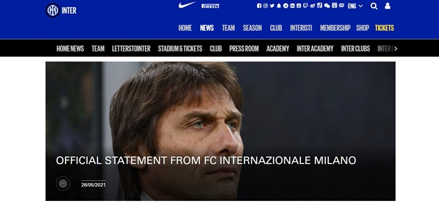 CHÍNH THỨC: Antonio Conte chia tay Inter Milan - Bóng Đá