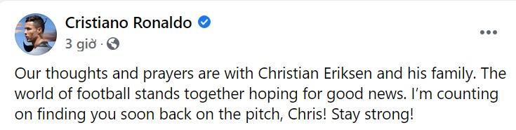 M.U, Ronaldo và nhiều cầu thủ gửi thông điệp ý nghĩa tới Eriksen - Bóng Đá