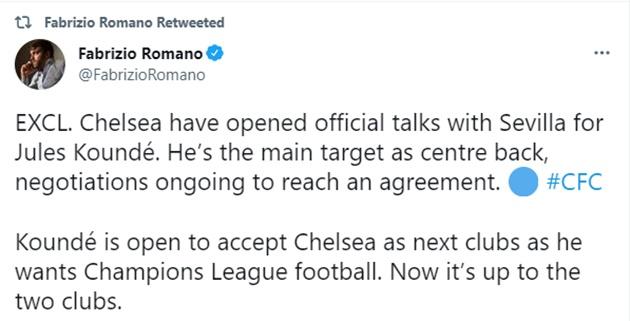 Chelsea have opened official talks with Sevilla for Jules Koundé.  - Bóng Đá