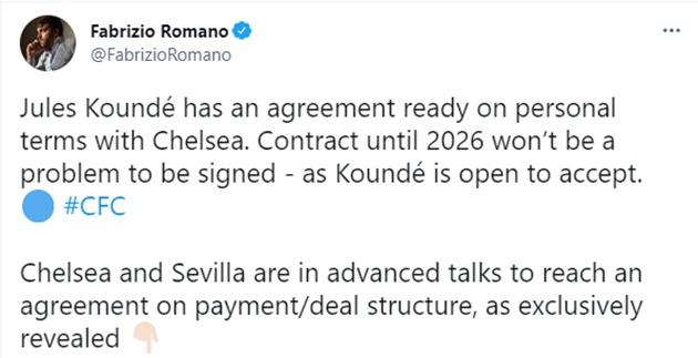 Jules Koundé has an agreement ready on personal terms with Chelsea - Bóng Đá