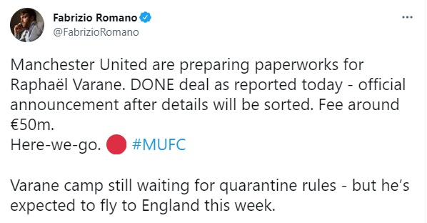Manchester United are preparing paperworks for Raphaël Varane - Bóng Đá