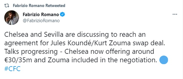 Talks progressing - Chelsea now offering around €30/35m and Zouma included in the negotiation for Kounde - Bóng Đá