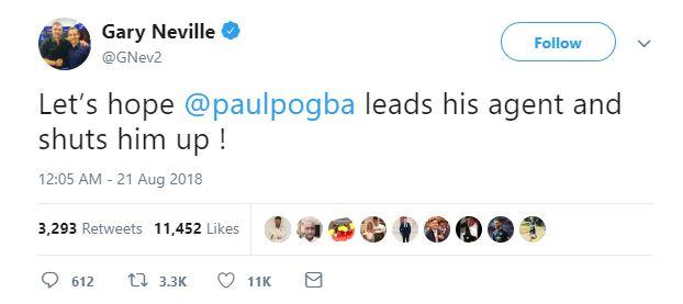 Bảo vệ Scholes, Neville khuyên Pogba làm cho Raiola im miệng - Bóng Đá