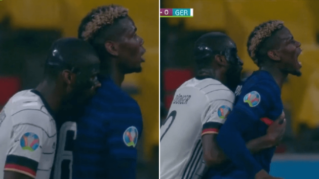 Antonio Rudiger appears to bite Paul Pogba during France's Euro 2020 clash with Germany - Bóng Đá