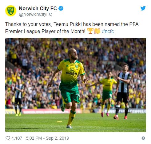 Teemu Pukki - Player of the month Premier League  - Bóng Đá