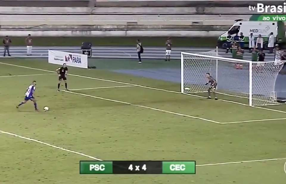 Brazilian footballer produces candidate for miss of the year after the stupidest penalty run-up ever seen - Bóng Đá