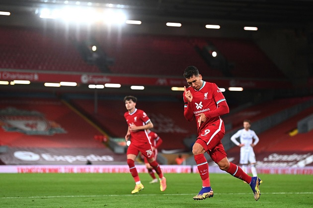 Phản ứng của cả đội hình Liverpool sau khi Firmino ghi bàn - Bóng Đá