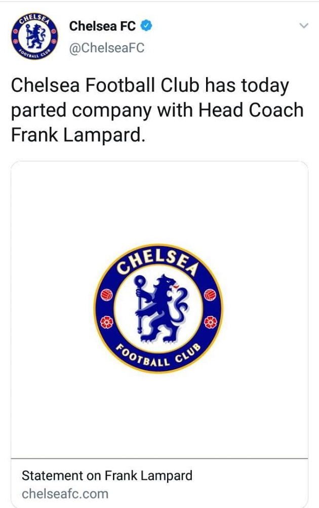 Chelsea statement sacking Frank Lampard compared to Mourinho, Conte and other dismissals - Bóng Đá