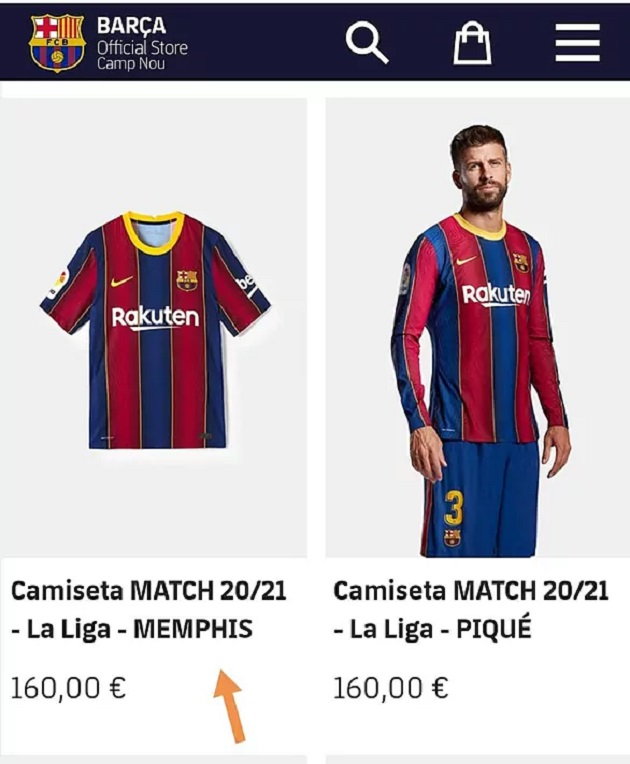 Memphis Depay's shirt appears on Barcelona's online store! - Bóng Đá