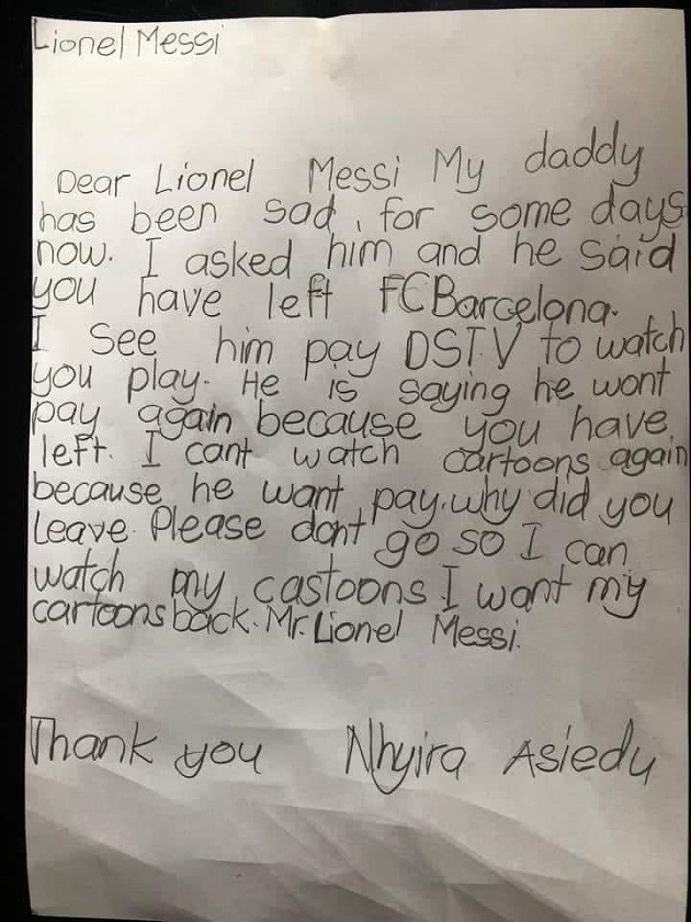 Nhyira Asiedu: Ghanaian girl writes emotional letter to Lionel Messi; begs him to go back to Barcelona  - Bóng Đá