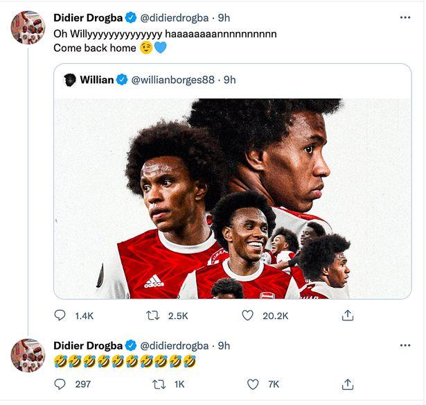 Chelsea legend Didier Drogba laughs at Arsenal after Willian leaves club - Bóng Đá