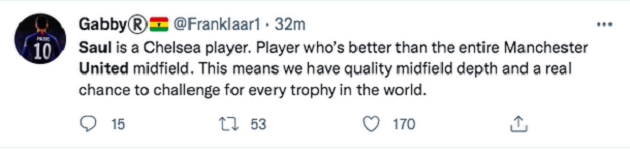 Chelsea fans say the same thing about Man United after Saul Niguez completes transfer - Bóng Đá