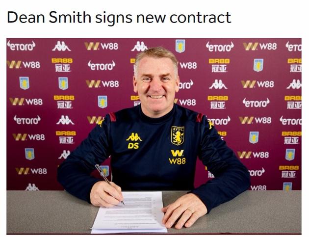 CHÍNH THỨC: Thắng 4/13 trận, Dean Smith gia hạn với Aston Villa - Bóng Đá