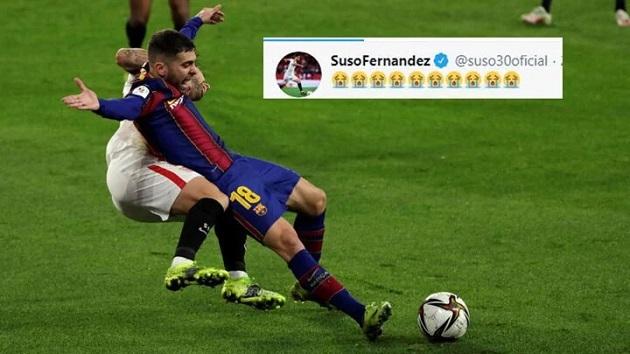 Suso responds to Pedris's penalty claim on twitter. - Bóng Đá