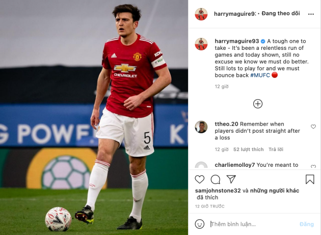 Harry Maguire sends message to Manchester United fans after loss - Bóng Đá