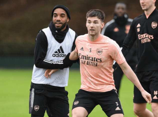 Alexandre Lacazette and Kieran Tierney both returned to full training with the rest of the Arsenal squad yesterday - Bóng Đá