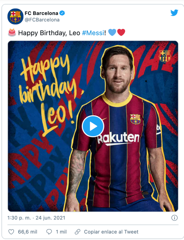 Barcelona congratulate Messi on his birthday and await news on his contract - Bóng Đá