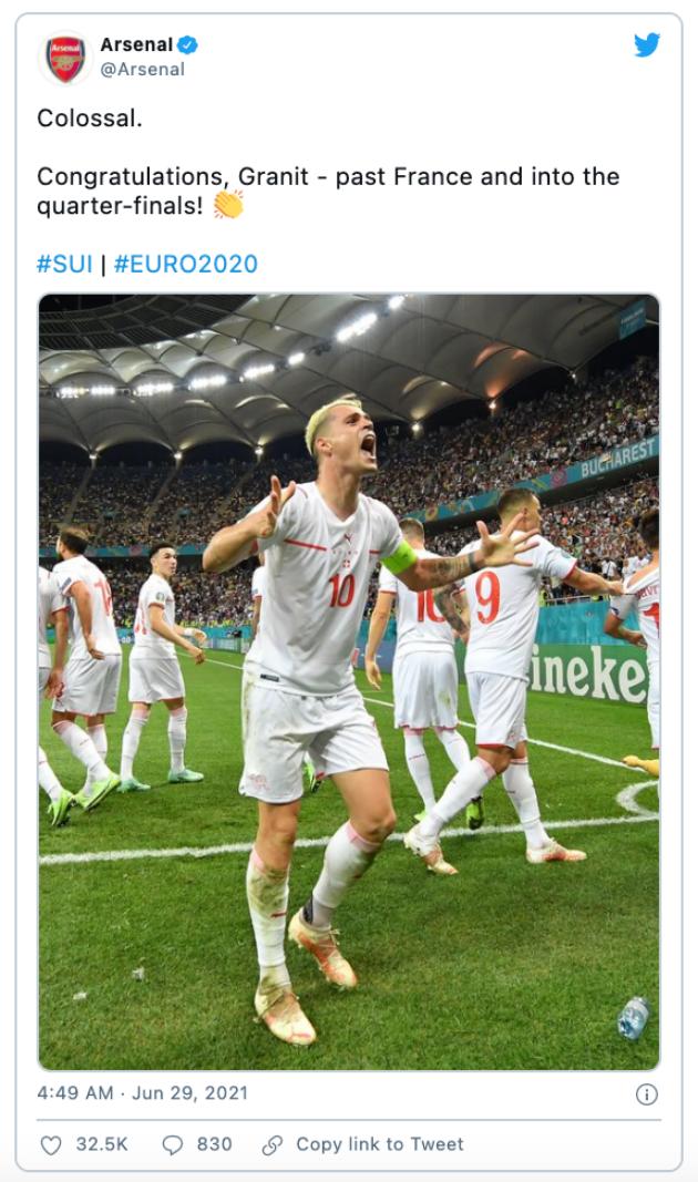 Thụy Sĩ loại Pháp, trang chủ Arsenal dùng đúng 1 từ miêu tả Xhaka - Bóng Đá