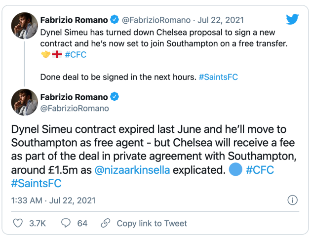 Report: Chelsea youngster Dynel Simeu set to complete free transfer to Southampton - Bóng Đá