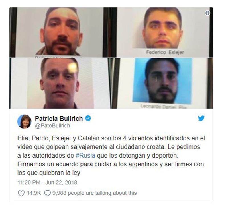 Bộ trưởng an ninh bình luận về vụ ẩu đả giữa fan Argentina và Croatia - Bóng Đá
