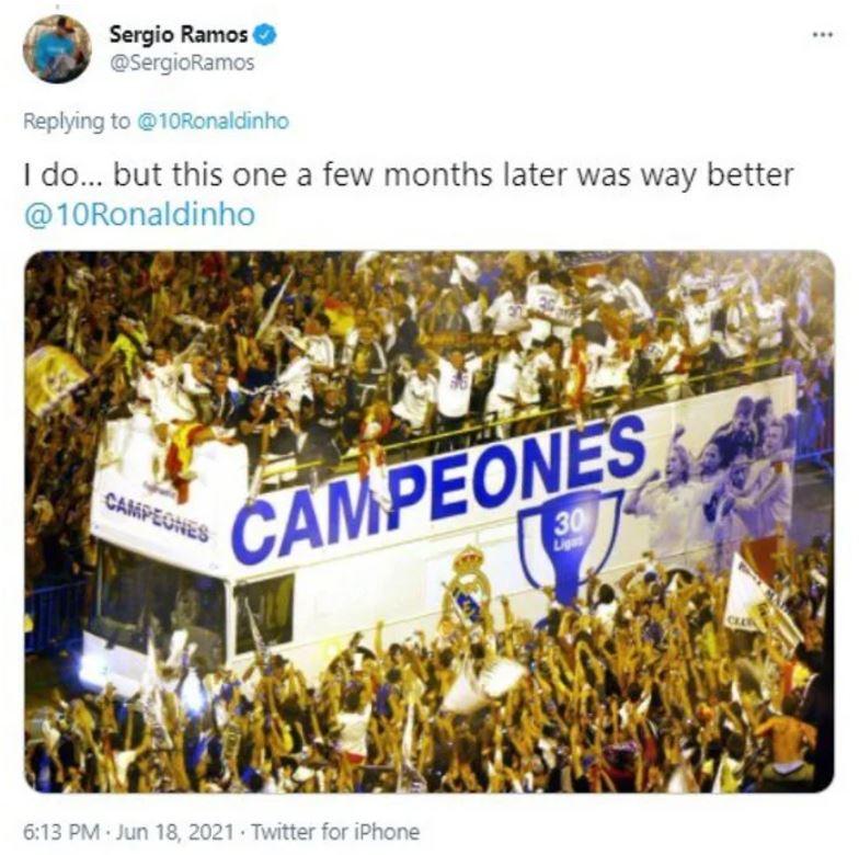 Ronaldinho khiêu khích, Sergio Ramos có lời đáp trả - Bóng Đá