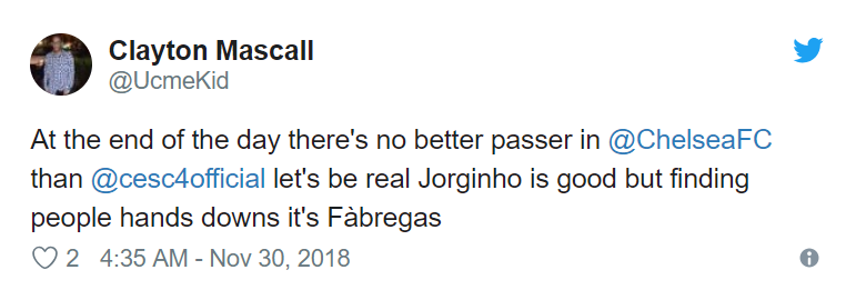 'Sorry but Fabregas > Jorginho': Chelsea fans want new signing dropped for veteran midfielder after Spaniard runs the show in Europa League clash - Bóng Đá