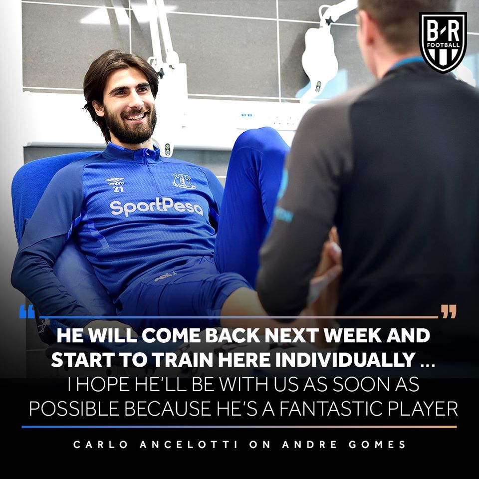 Andre Gomes will return to Everton training next week after breaking his right ankle against Tottenham in November - Bóng Đá